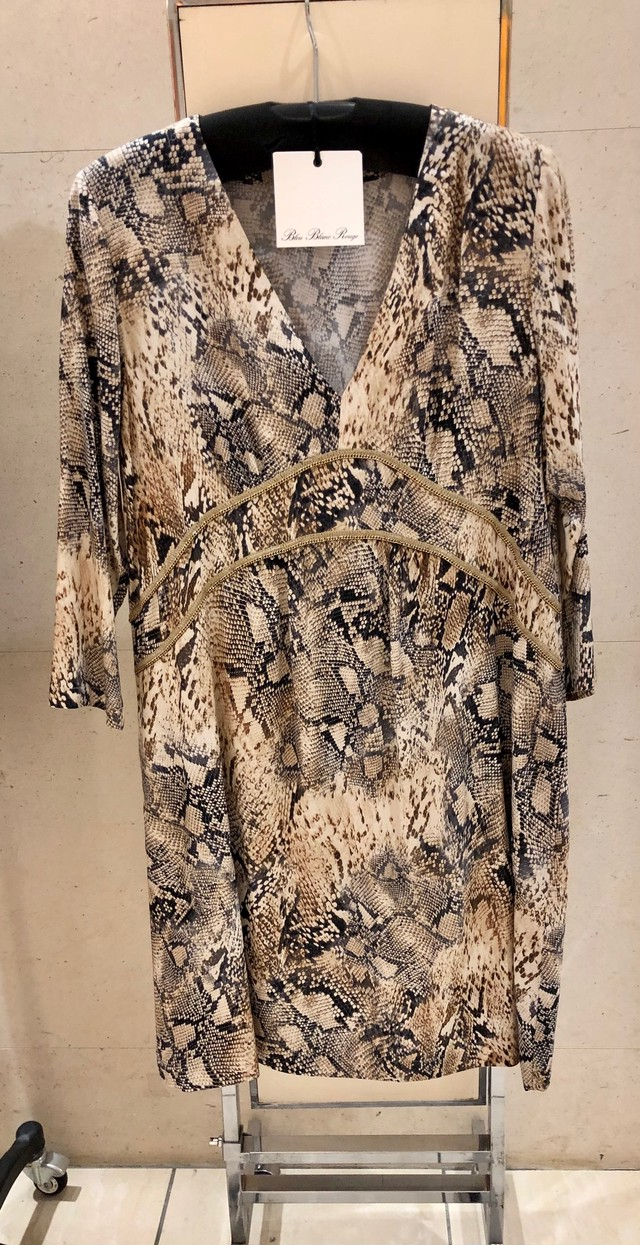エレガントパイソンワンピースドレス by Bleu Blanc Rouge