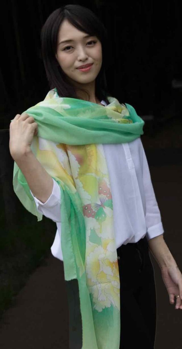 和柄スカーフ「牡丹」