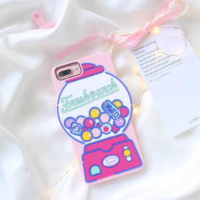 ポップでキュートなガチャガチャ型ケース〈シリコン素材〉(SPCa0007)◆スマホケース/iPhoneケース