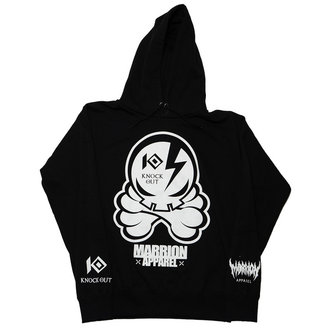 KNOCKOUT×MARRIONAPPAREL OCTOPUS SKULL  Hoodie (Black×White)