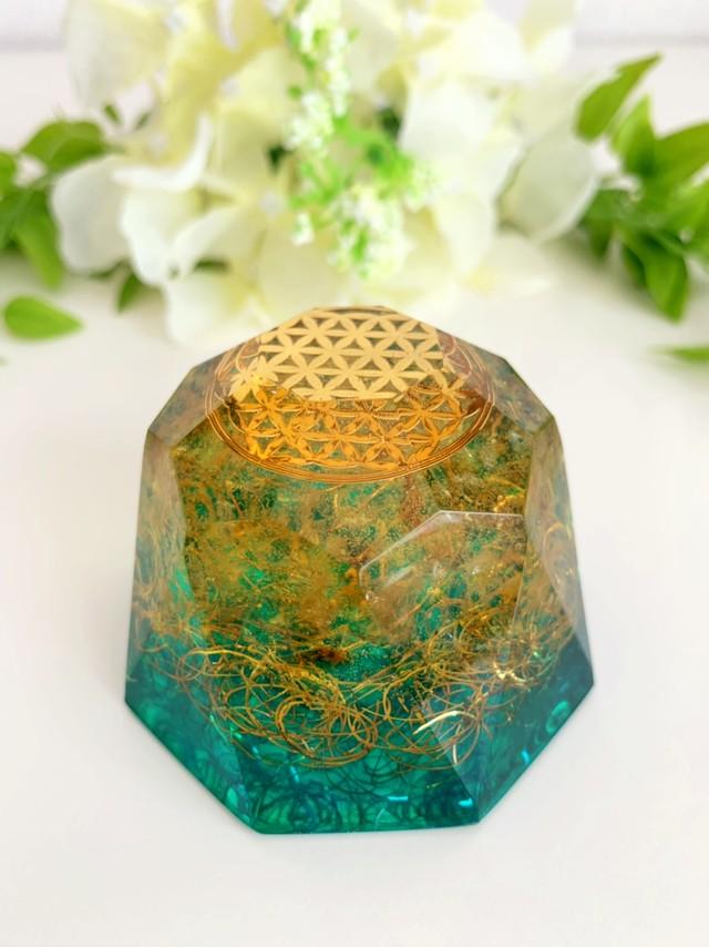 【ダイヤモンド型オルゴナイト】フラワーオブライフ&シトリン