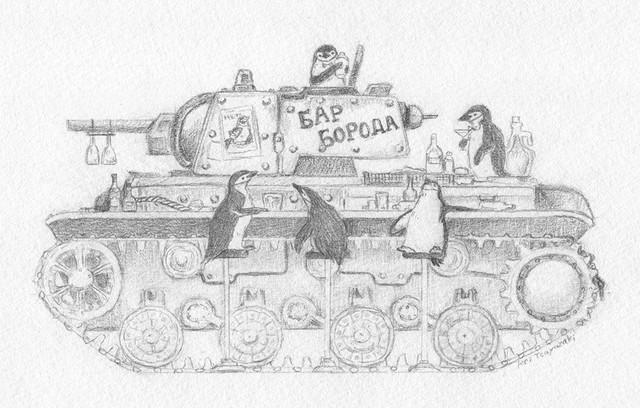 【南極ホタル堂】 原画「Penguin Tank KV-1 & Chinstrap penguin」