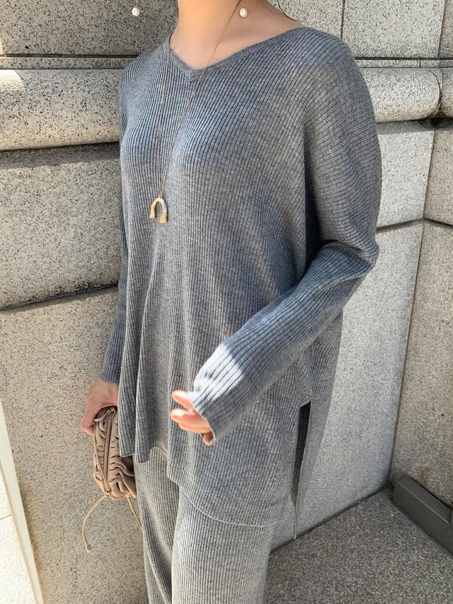 vneck knit tops (setup) / grey (即納)
