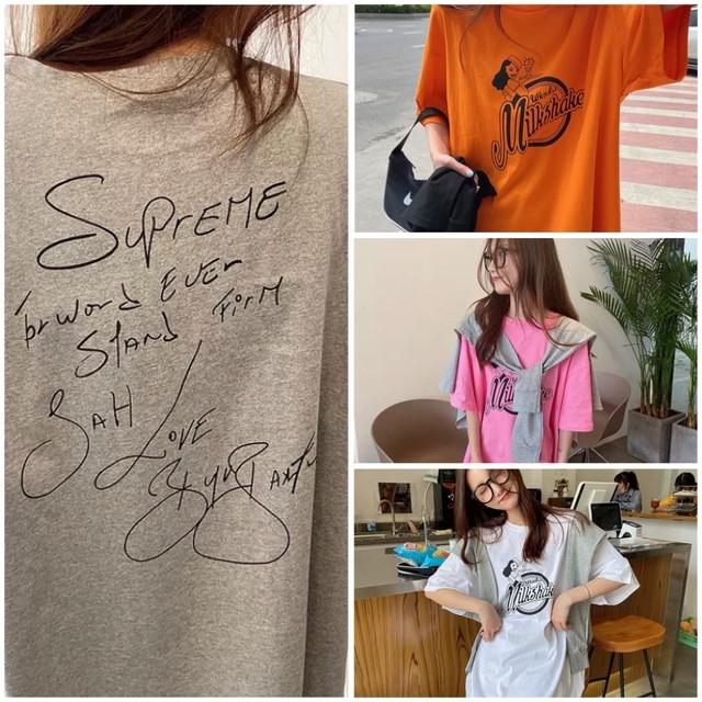 S~2XL 4カラー ★ Tシャツ ゆったりシルエット ロング丈 ワンピース Tシャツワンピ バックデザイン