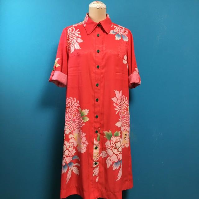 桜色の着物シャツワンピース、ロールアップ