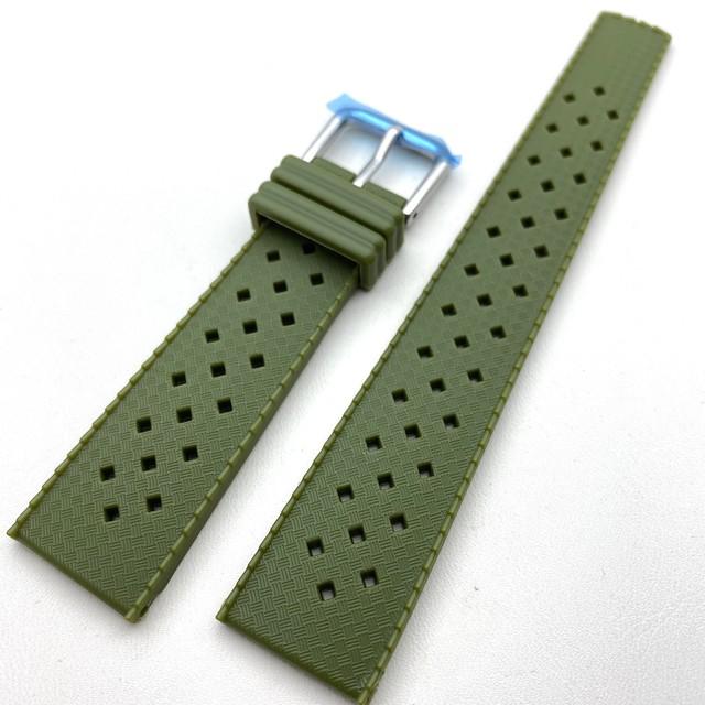 ヴィンテージ トロピック2.0 復刻ラバーベルト カーキ・グリーン 20mm 腕時計ベルト