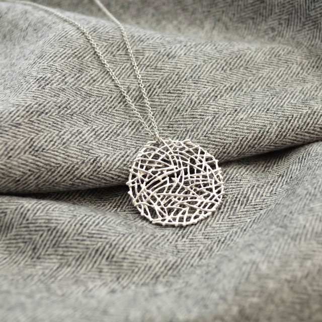 Mesh plate necklace(silver)L