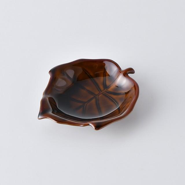 葉型小皿・アメ釉