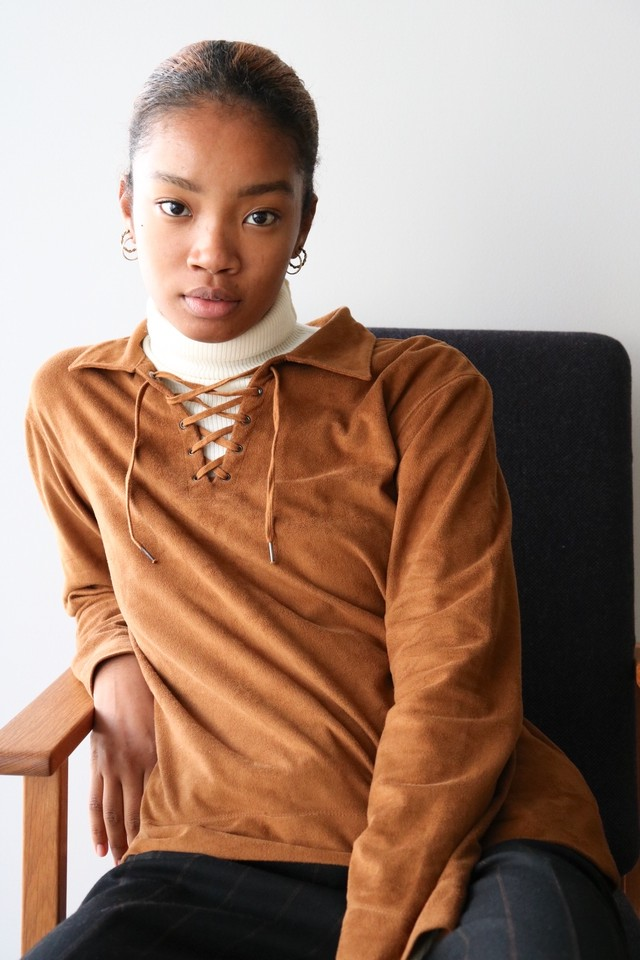 Vintage fake suede lace up shirt