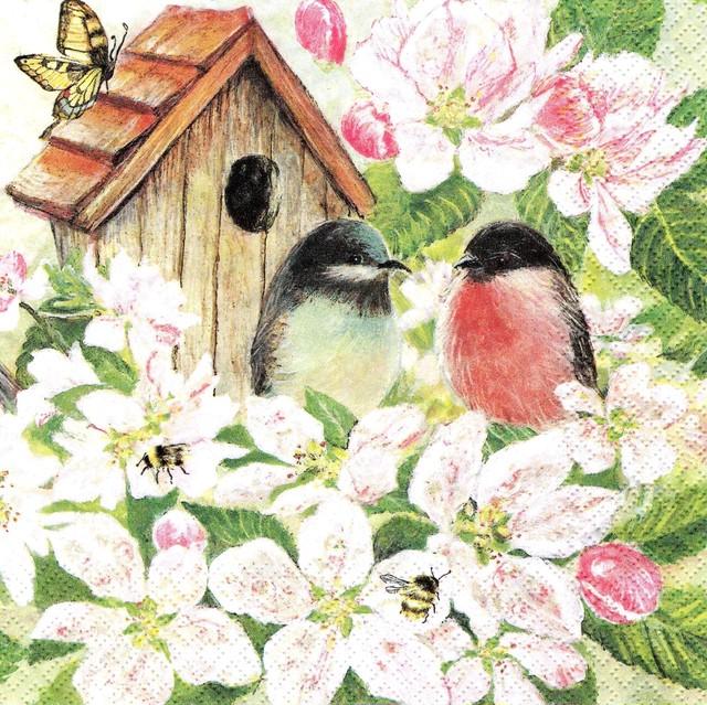 【Home Fashion】バラ売り2枚 ランチサイズ ペーパーナプキン Birds and Blossom ホワイト