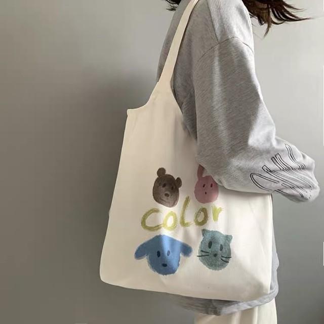 【即納】可愛い動物イラストトートバッグ エコバッグ *z00012