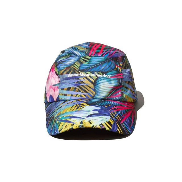 BOTANICAL PRINTED LONG VISOR CAP - BLACK