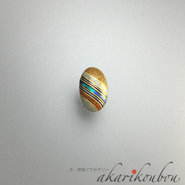 漆ラペルピン タイタック 螺鈿 金蒔絵 銀蒔絵 漆アクセサリー : 薄型キャッチ チェーン 有 無 2個付 ピンブローチ