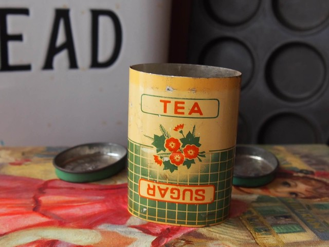 イギリスアンティーク ティー&シュガー缶 (TEA&SUGAR TIN)