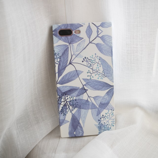 上品なブルーリーフスクエア型デザイン(SPCa0165)◆スマホケース/iPhoneケース