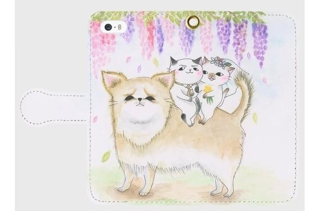(iPhone用)犬と猫の結婚式の手帳型スマホケース