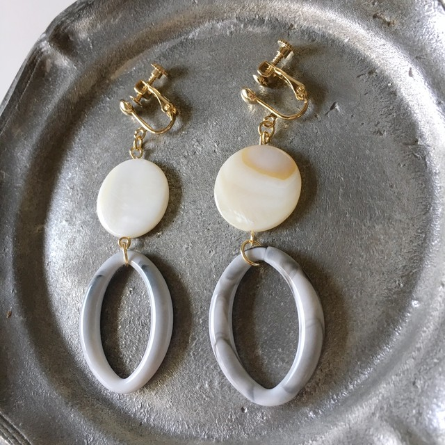 Shellfish & Grey hoop earrings