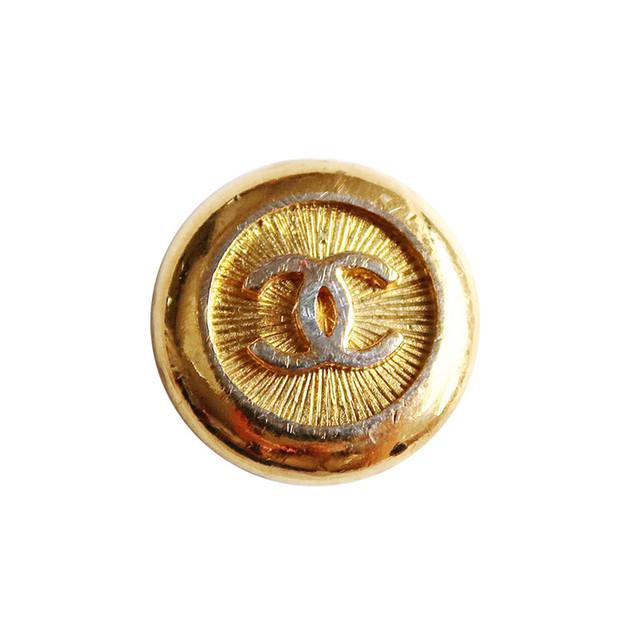 【VINTAGE CHANEL BUTTON】ゴールド 縁取り ココマーク ボタン 22㎜ C-19089