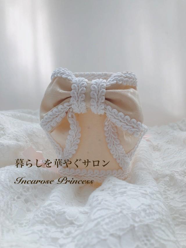 プリンセスStyle ペンスタンド♡   アイボリードットモアレ×ホワイト