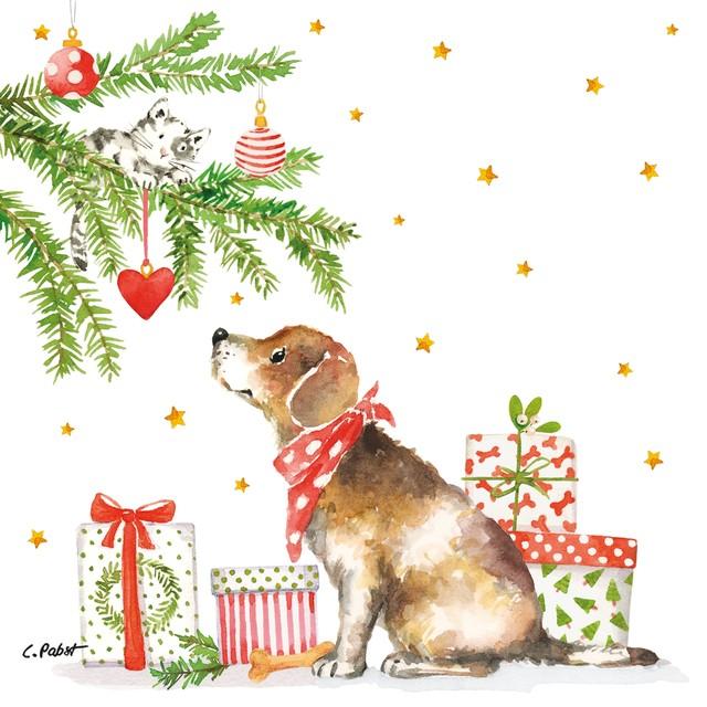 2021秋冬【Paperproducts Design】バラ売り2枚 ランチサイズ ペーパーナプキン Christmas Dog ホワイト