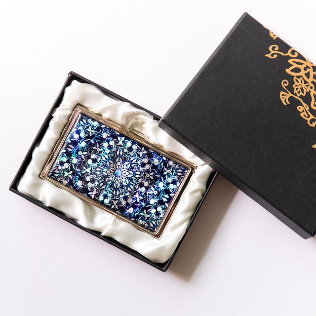天然貝 名刺カードケース(フラワーファンタジー・ディープ)シェル・螺鈿アート