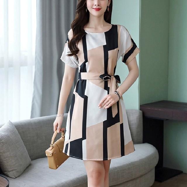 【dress】エレガントレトロ通気半袖細見え配色大きいサイズAラインワンピース