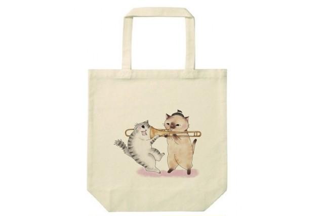 トロンボーン猫のトートバッグ(吸引)