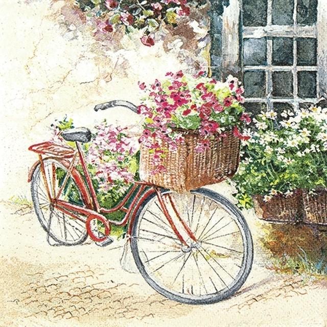 入荷しました【Home Fashion】バラ売り2枚 ランチサイズ ペーパーナプキン Flower Bike マルチカラー