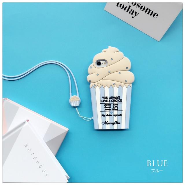 ポップな<ブルー>アイスカップデザイン(SPCa0017BU)◆スマホケース/iPhoneケース