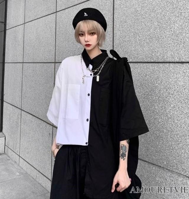シャツ モノトーン バイカラー ユニセックス アシンメトリー ストリート カジュアル ピープス オルチャン 韓国ファッション 1397