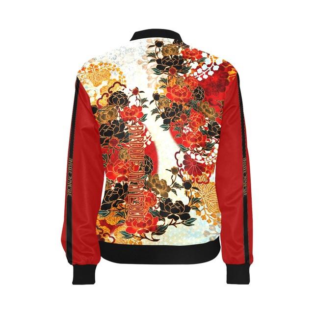 牡丹家紋紅白 メンズ&レディースボンバージャケット