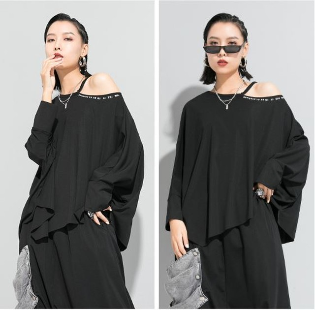 Tシャツ カットソー オフショル アシンメトリー 黒 ブラック 白 ホワイト スタイリッシュ モード系 ヴィジュアル系 1257