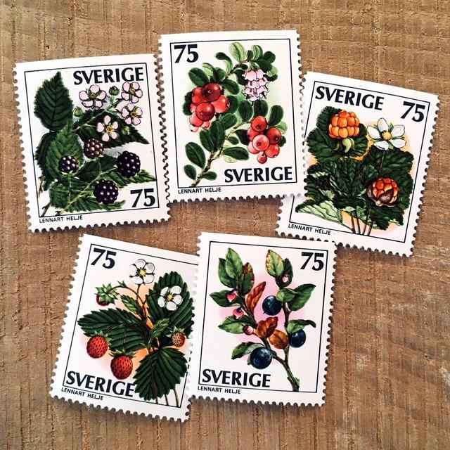 切手(未使用)「ワイルドベリー - 5種セット(1977)」