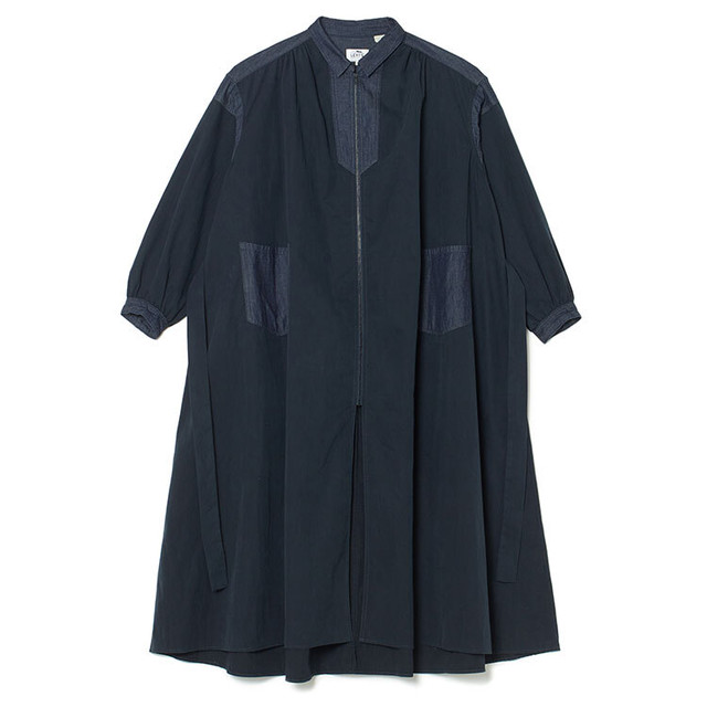 WM x LMC GATHERD DRESS - NAVY