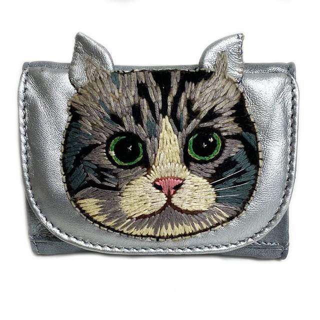 ねこミニ財布 silver cat/SILVER