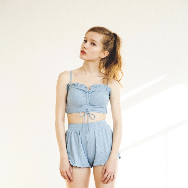 light blue front shirring swimwear ZBL306