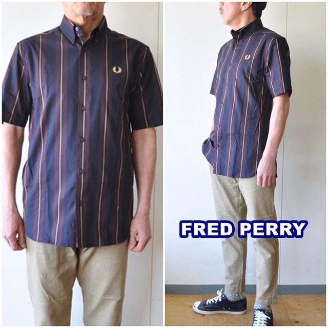 FREDPERRY フレッドペリー ボタンダウンシャツ M1572 半袖シャツ 半袖ボタンダウンシャツ ストライプ