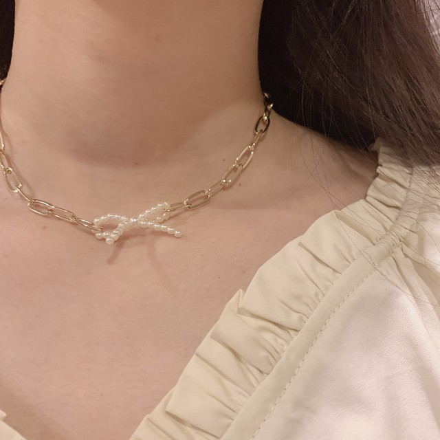 ribbon pearl necklace (S19-10091K)
