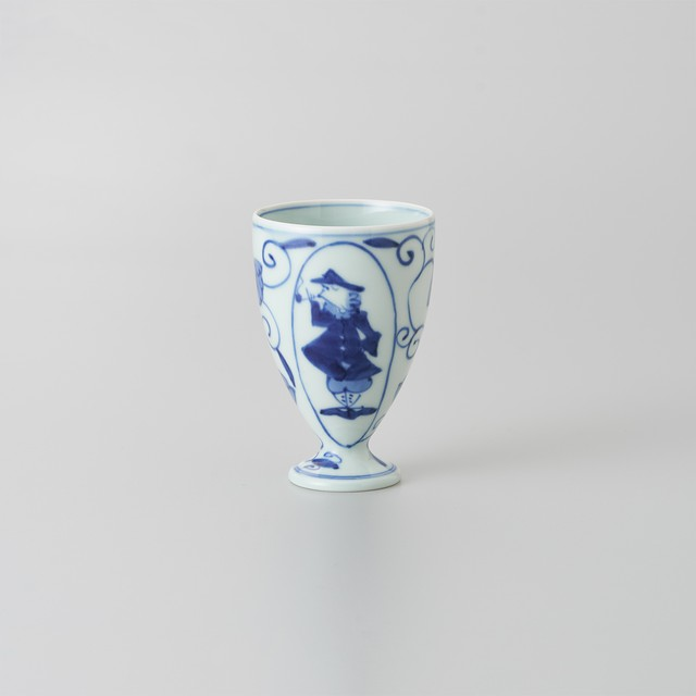 【青花】唐草異人 フリーカップ(小)