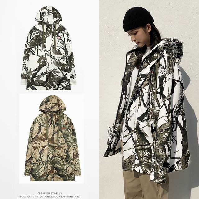 【LAY LOW】 メンズ/レデース/ユニセック 裏起毛 迷彩プリントジャケット / Winter hooded cotton loose camouflage print lamb cashmere warm coat jacket (DCT-584659907376)