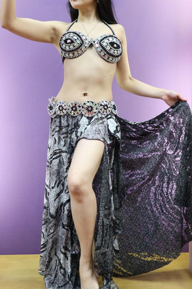 エジプト製 ベリーダンス衣装 ターキッシュスタイル ブラベルトスカート3点セット ボルドー
