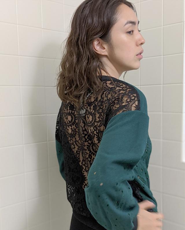 刺繍付き ウール&レース柄 セーター