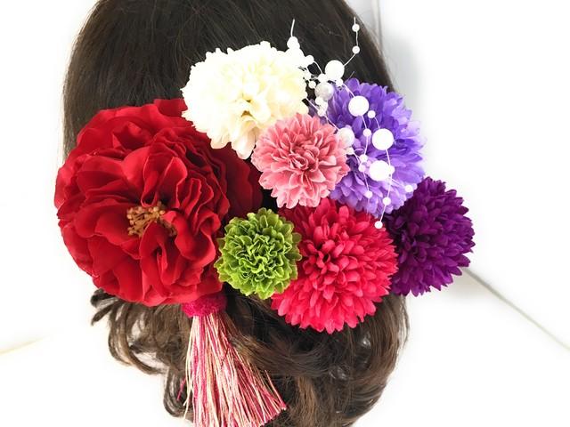 大人の赤バラ髪飾り