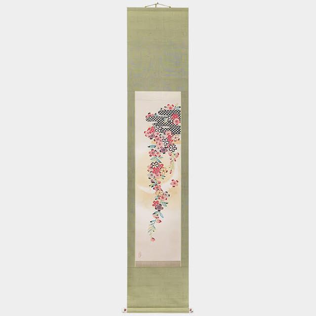 霞に枝垂桜と三日月 (掛け軸)