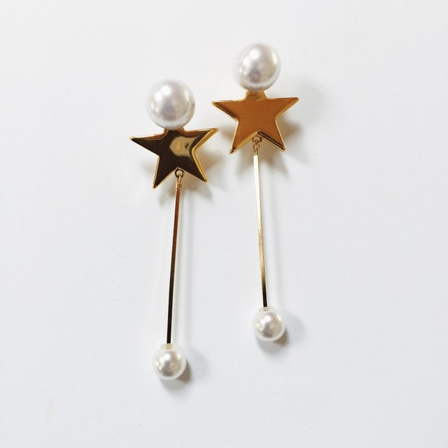 《再入荷》STAR with swing pearl p/e gold