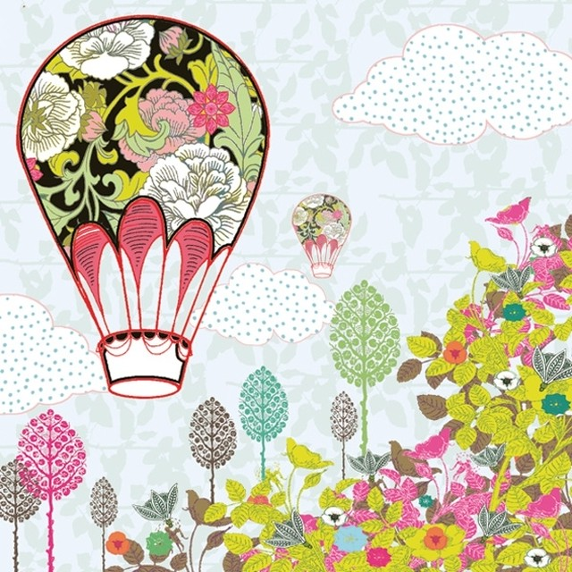 入荷しました 新入荷【Maki】バラ売り2枚 ランチサイズ ペーパーナプキン Flowers Balloon Ride ライトブルー