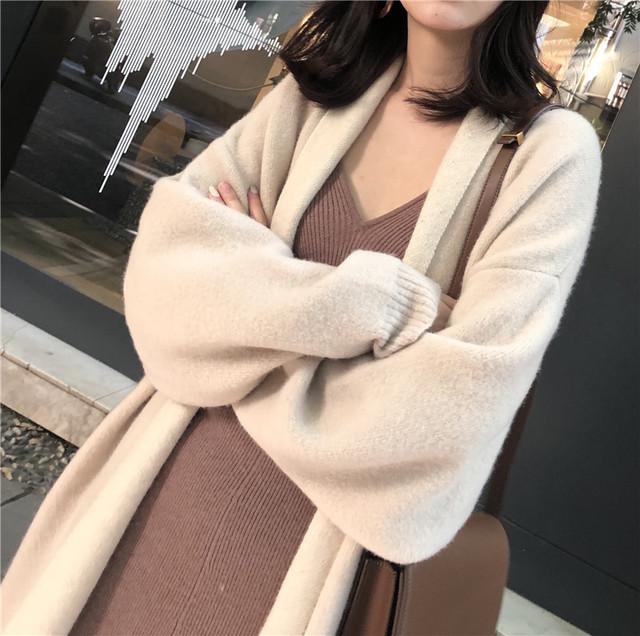 冬 ニット ロング コーディガン シンプル ゆったり 長袖 可愛い トレンド オルチャン デート お呼ばれ