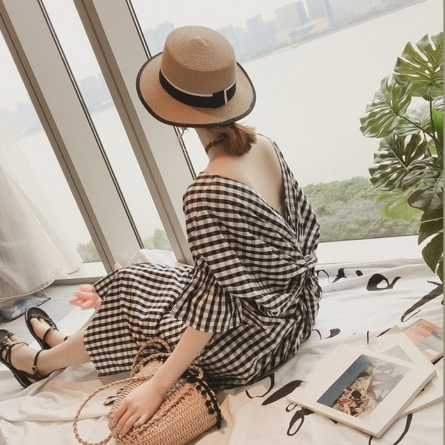 Gingham Check One-piece T551