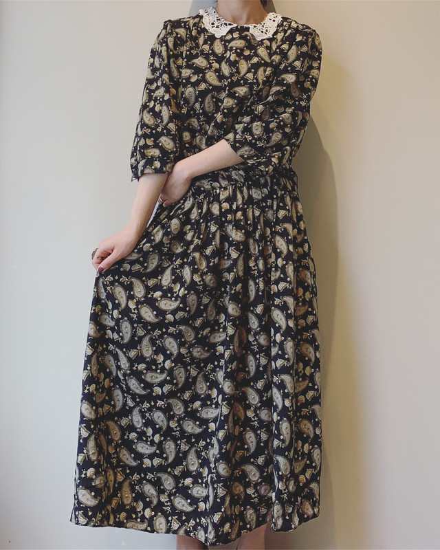 vintage lace collar paisley onepiece
