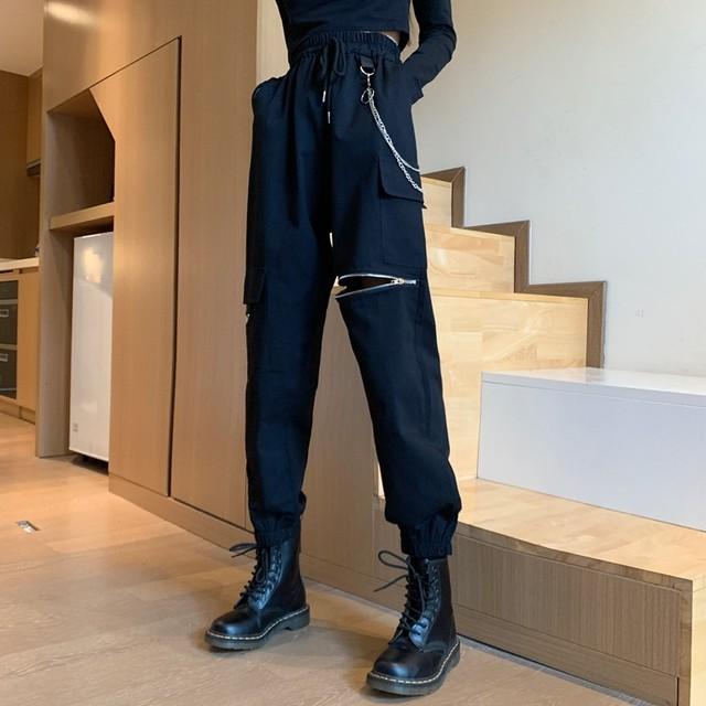 【ボトムス】ストリート系ジッパー着痩せ合わせやすいカジュアルパンツ43754440